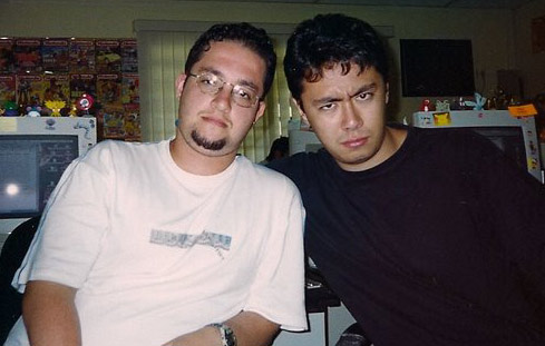 Renato Siqueira e Pablo Miyazawa na Conrad Editora (em 2000)
