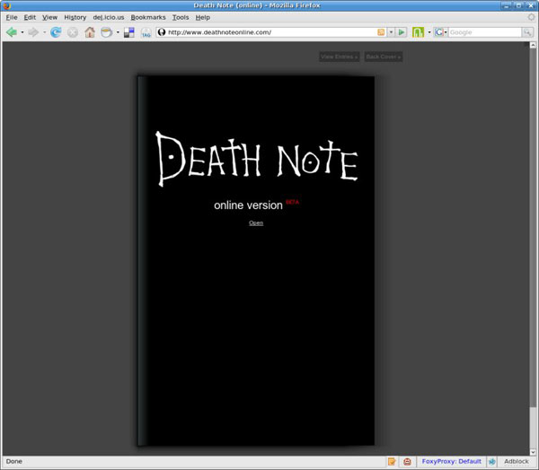 Death Note na internet