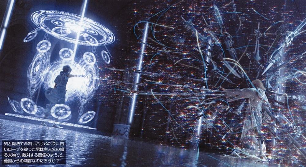 Noctis e Ravus usando o poder dos cristais cada um de sua região